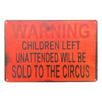 UNIQUELOVER Scary Clown Decorations Warning Children Circus Metal Signs 8 x 12 Inches, Small