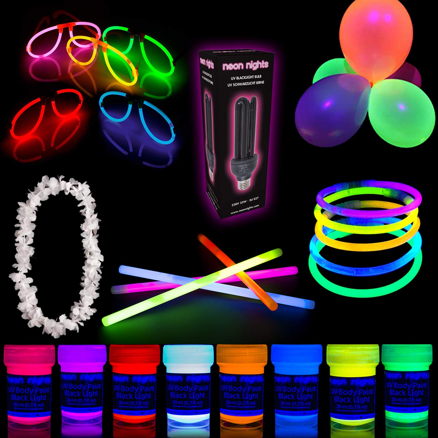 Party Set [M] neon nights Fun-Pack 20 Pieces with UV Body Paint Glow Paints + Black Light Bulb + Glow Sticks | Party Supplies and Decoration Box