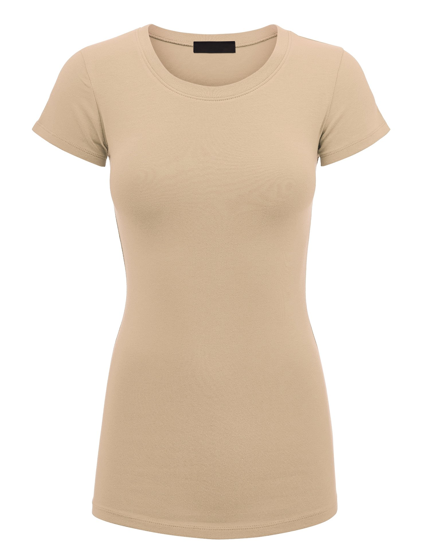 Lock and Love Womens Basic Fitted Short Sleeve Round Neck T Shirt