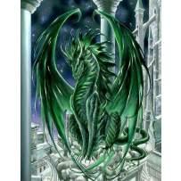 MXJSUA DIY 5D Diamond Painting Full Round Drill Kit Rhinestone Picture Art Craft for Home Wall Decor 12x16In Green Dragon