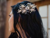 SWEETV Handmade Bridal Hair Comb Clip Pin Pearl Wedding Hair Accessories for Brides and Bridesmaid Light Gold