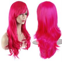 """AKStore Fashion Wigs 28"""" 70cm Long Wavy Curly Hair Heat Resistant Wig Cosplay Wig For Women With Free Wig Cap (Rose)"""