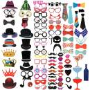 VCOSTORE 90Pcs Photo Booth Props-Funny, Bridal Party Photo Props, Assorted Designs Costume Mustache Hat Glasses Tie for Birthdays Wedding Holiday Party Christmas