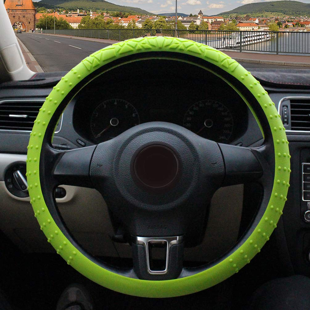 ZATOOTO Silicone Car Steering Wheel Cover – Green Nonslip 3D Massage Hands 13 Inch - 16.5 Inch Light Weight Foldable Easy Carry for Women Men Better Grip