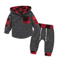 Baby Boys Clothes Newborn Boy Hoodie Pants Set Long Sleeves Toddler Plaid Babies Outfit