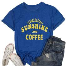 Sunshine Tshirts Funny Summer Graphic Tee Shirts for Women Letter Print Funny Coffee Tee Shirts Tops