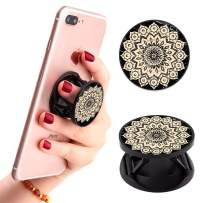 Multi-Functional Mandala Flower Marble Art Cell Phone Finger Foldable Expanding Stand Holder Kickstand Hand Grip Car Mount Hooks Widely Compatible with Almost All Phones/Cases