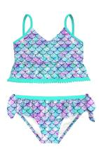 swimsobo Girls Swimsuits Two Piece Bathing Suit Sets 3D Printed Tankini Swimwear for 5-12 Years