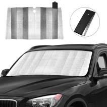 "Car Windshield Sun Shade, Front Window Car Sun Shade for Windshield - Blocks UV Rays Sun Visor Protector, Foldable Sun Reflector to Keep Your Vehicle Cool, Easy to Use 59"" x 31"" (Black)"