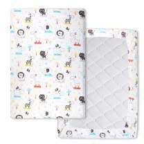 Waterproof Pack n Play Playard Sheets Mattress Sheet Stretchy Fitted Mini Crib Sheets Cover Pad, Soft Cute Animal 40' x 27.6'