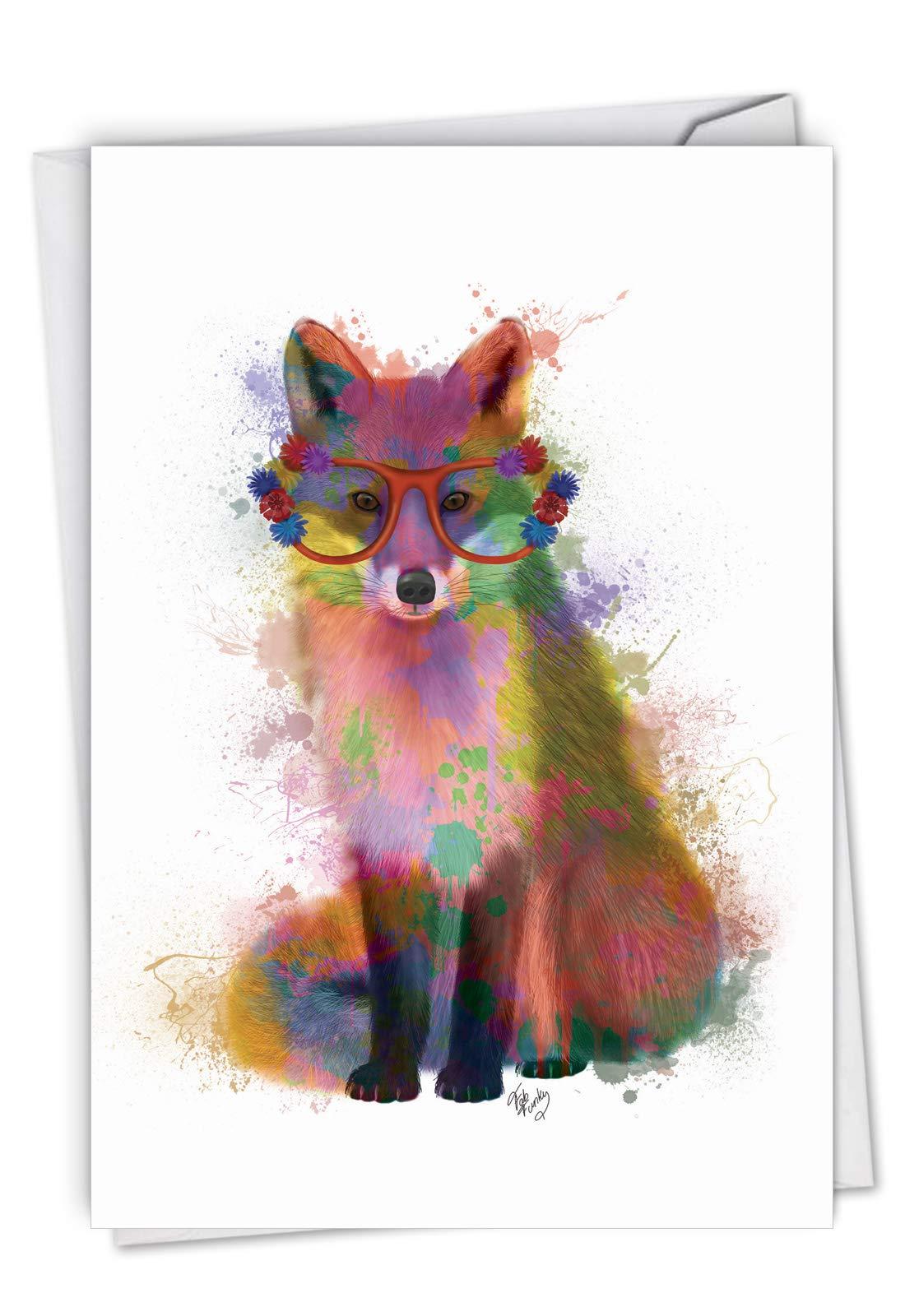 The Best Card Company, Funky Rainbow Wildlife Fox - Watercolor Birthday Card - Cute Animal Art for Kids C4948ABDG
