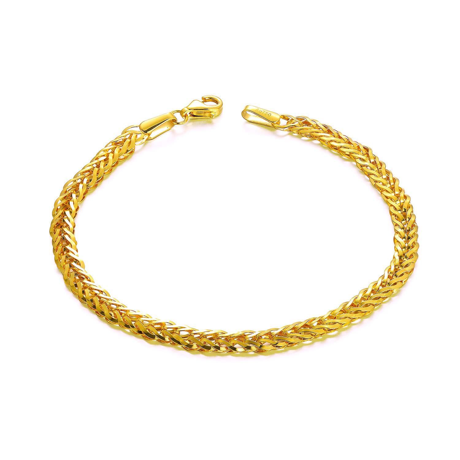 SISGEM Solid 18k Yellow Gold Celtic Chain Bracelet, Fine Link Jewelry for Women, 4 mm