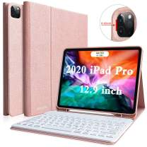"""Keyboard Case for New iPad Pro 12.9"""" 4th 2020 and 3th 2018 Gen,Full Body Protective Rugged Shockproof Cover with Magnetically Detachable Wireless Keyboard, Suppor 2nd Gen Pencil Charging(Champagne)"""