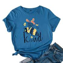 JTJFIT Women Flower Bee Kind T-Shirt Graphic T Shirt Short-Sleeved Girls Tee Top