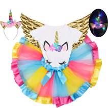 Baby Girls Unicorn Dress with Wings T-Shirt LED Headband Rainbow Tutu Skirt 4PCS Birthday Party Dresses Princess Costume