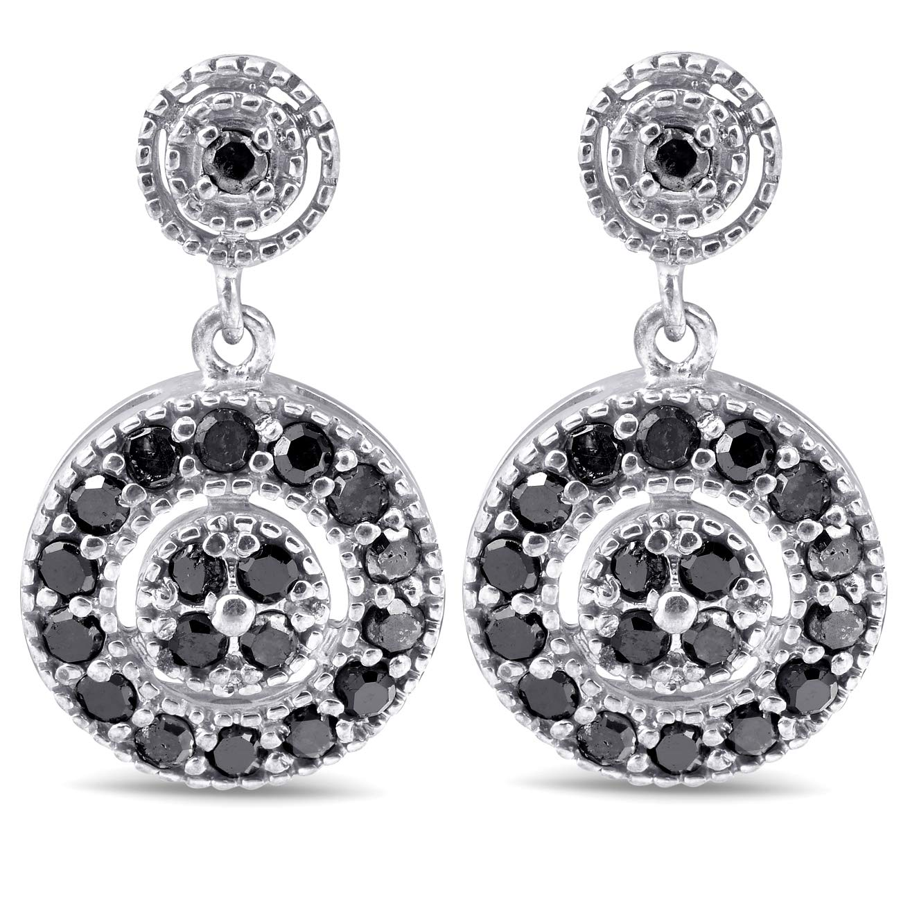 1/2ct Black Diamond Pave Womens Earrings 10K White Gold