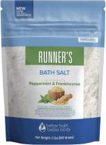 Runner's Bath Salt 32 Ounces Epsom Salt with Natural Peppermint, Frankincense, Lemon, Cypress, Tea Tree and Lemongrass Essential Oils Plus Vitamin C in BPA Free Pouch with Easy Press-Lock Seal