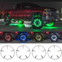 """LEDGlow 4pc 17"""" Million Color LED Wheel Ring Accent Light Kit- Fits Wheels with 16.5"""" Brakes - Heavy-Duty & Versatile Design - Waterproof Strip - Includes Control Box & Wireless Remote"""