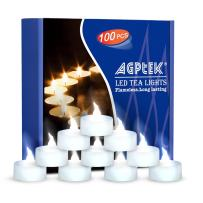 AGPtEK Tea Lights, 100 Pack Flickering Flameless LED Battery Operated Candles Long Lasting Tealight for Wedding Holiday Party Home Decoration(Cool White)