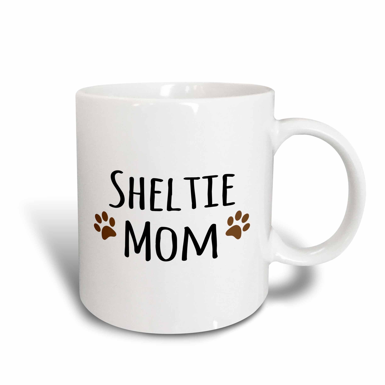 """3dRose 154194_2""""Sheltie Dog Mom Mug, 15 oz, Ceramic"""