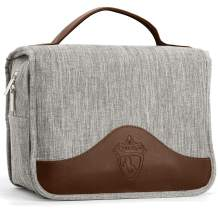 Qvene Hanging Toiletry Bag for Men and Women | Multi-Compartment, and Travel Size Dopp Kit to Easy Carrying Toiletries and Beard Accessories | Synthetic Leather, Recycled Fabric, Grey USA