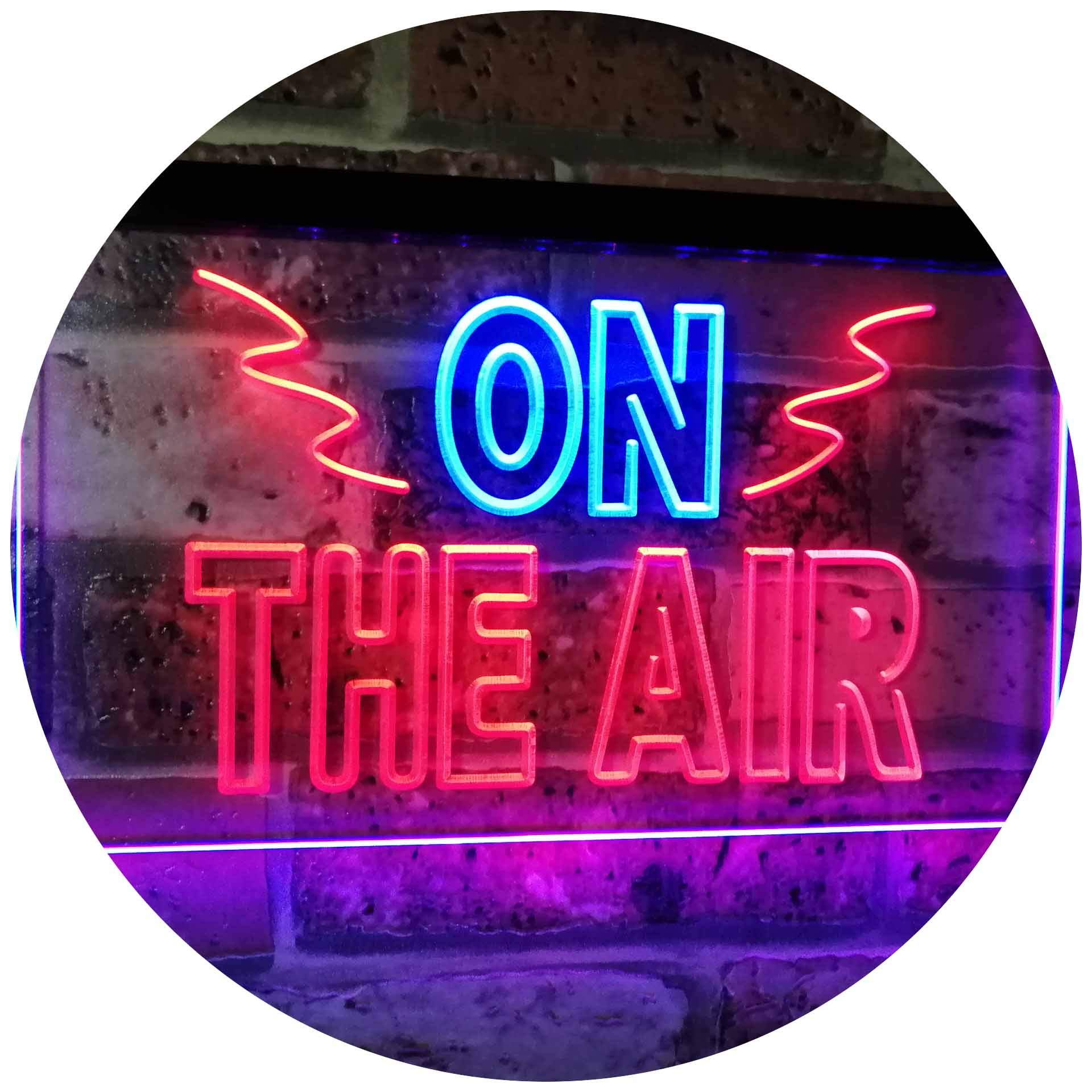 """ADVPRO On Air Studio Recording in Progress Dual Color LED Neon Sign Blue & Red 12"""" x 8.5"""" st6s32-i2066-br"""
