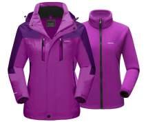 MAGCOMSEN Women's 3-in-1 Winter Ski Jacket with Detachable Hood Water Resistant Fleece Lining Snow Jacket Parka Coat