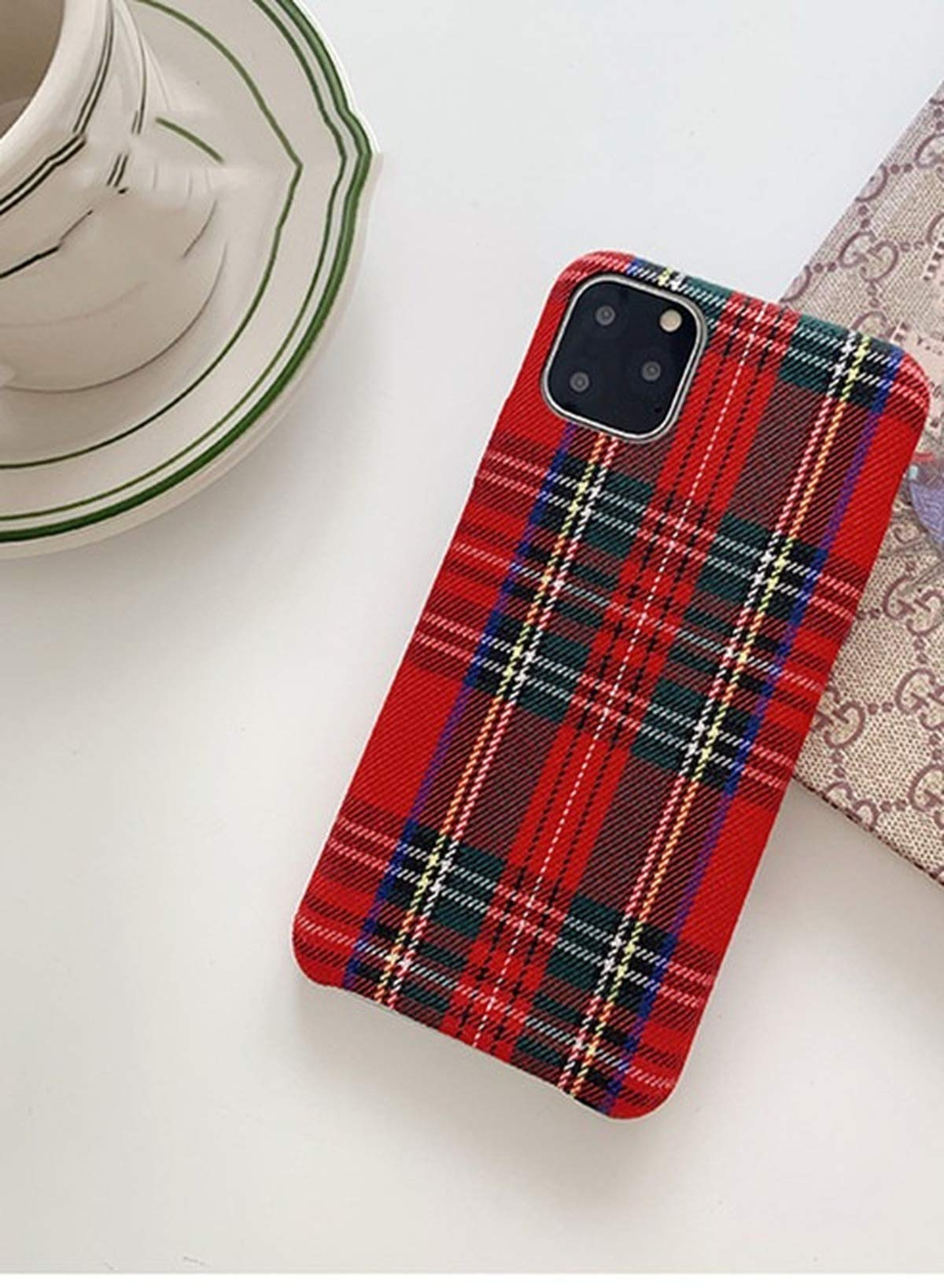 Mixneer Warm Flannel Plaid Cloth Phone Case Simple Plush Fabric Phone Case for iPhone X Xs Xsmax Xr 11 Pro Max 6s 7 8 Plus Cover (iPhone 7/8 Plus,red)