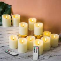 """Eywamage 12 Pack Realistic Flameless Pillar Candles with Remotes Timer, Flickering LED Battery Candles Ivory 3"""" Diameter 4"""" Height"""