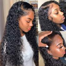 Lace Frontal Wig Human Hair Water Wave Wigs for Black Women Wet and Wavy Lace Front Wigs Human Hair 150 Density Lace Wigs Pre Plucked with Baby Hair Brazilian Wigs Short Wigs