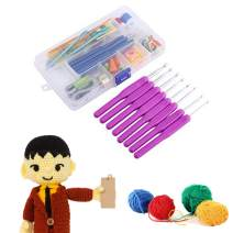 52 Piece 16 Size Crochet Hooks Needles Stitches Knitting Craft Crochet Set in Plastic Case,Purple/Pink/Green/Rosy (Color : Purple)