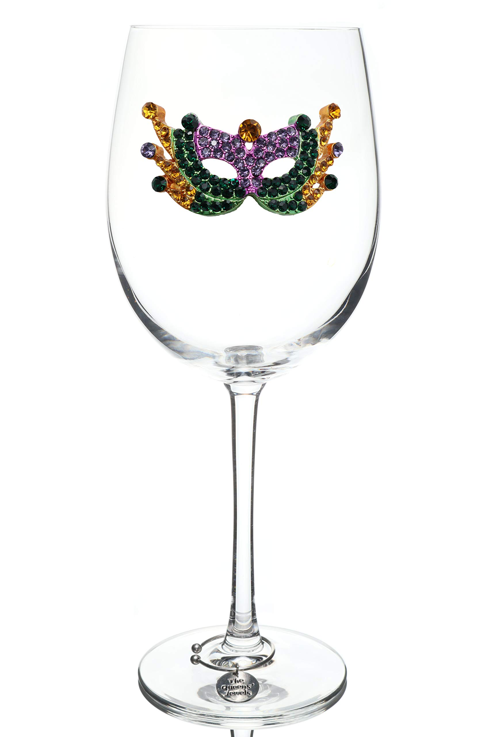 THE QUEENS' JEWELS Mardi Gras Mask Jeweled Stemmed Wine Glass - Unique Gift for Women, Birthday, Cute, Fun, Not Painted, Decorated, Bling, Bedazzled, Rhinestone