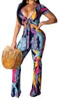 Women's Outfits Crop Top Long Pants Floral Jumpsuits