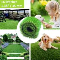 "XuSha Artificial Grass Turf Pet Pad 6.5'x10' - Synthetic Realistic Fake Grass Turf Mat for Indoor/Outdoor Garden Landscape Patio Balcony Dog Grass Rug 1.38""/35mm Pile Height Thick 10 Years Warranty"
