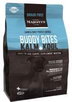 Majesty's Kalm+Kool Grain-Free Buddy Bites - 56 Count, Medium/Large Dog - Balanced Behavior & Nervous System Function Support Supplement - Carob/Sweet Potato Flavored - Calming/Anxiety/Stress/Travel