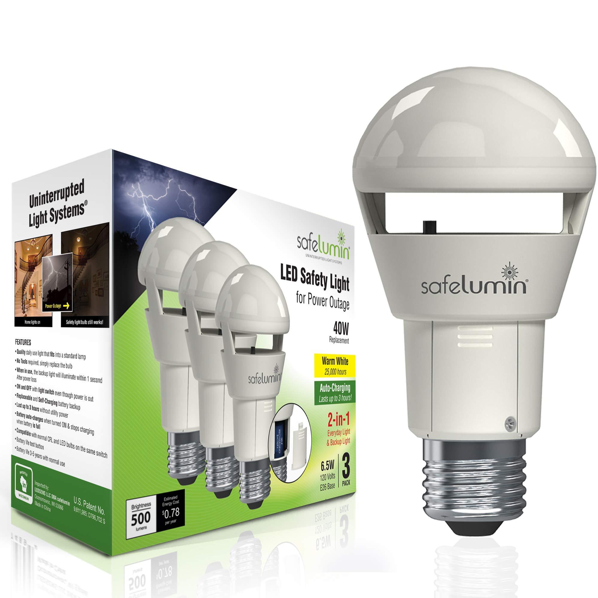 safelumin SA19-450U27 3PK Rechargeable Light Bulbs Warm White - Emergency Lights for Home Power Failure - Works as Normal Light Bulbs & 3Hrs Battery Backup, UL AC120V E26, 40W Equivalent 500lm