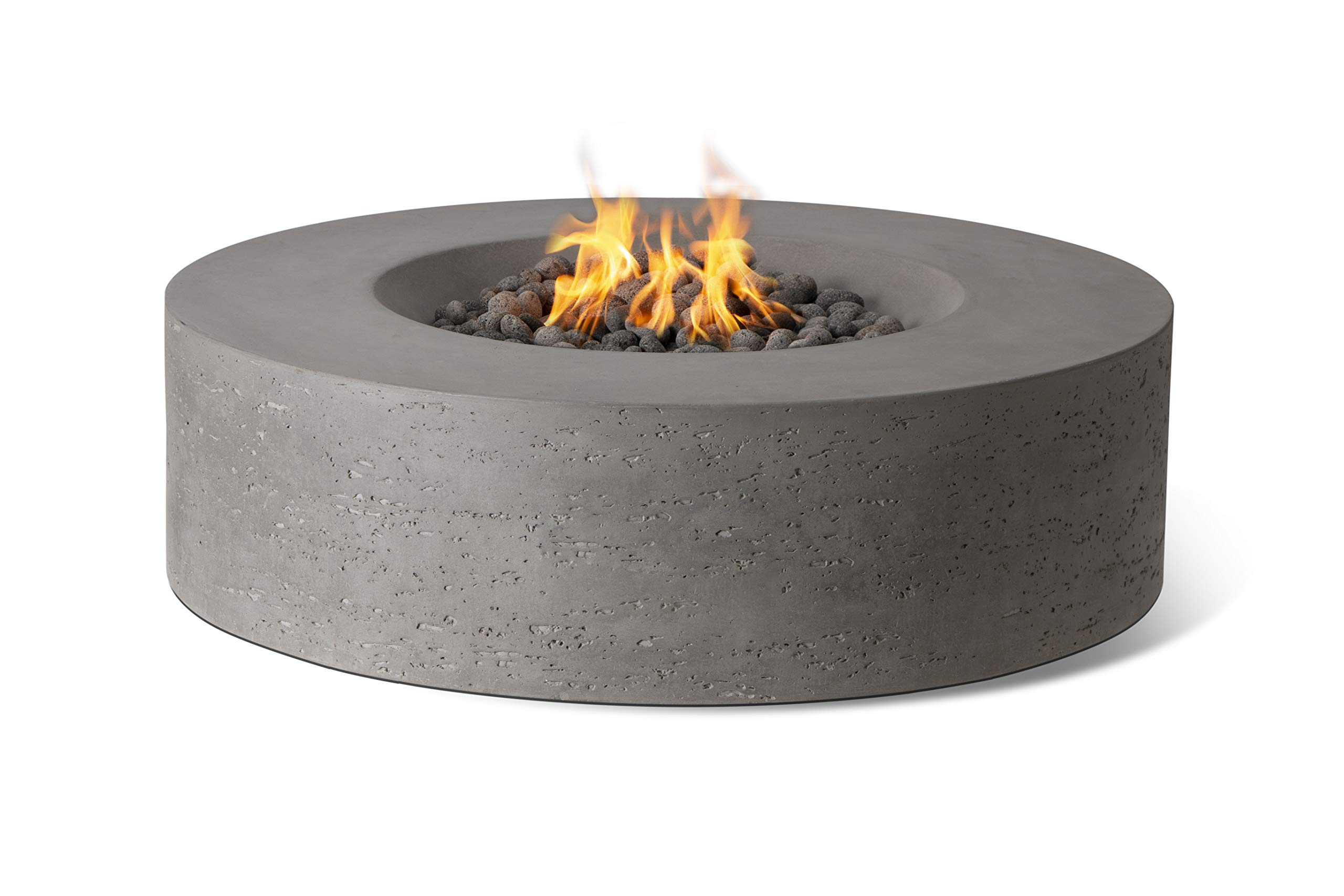 Pyromania Genesis Outdoor Fire Table, Fire Pit Table. Hand Crafted from High Performance Concrete. 60,000 BTU Stainless Steel Burner with Electronic Ignition - Natural Gas (Slate Grey)