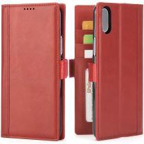 iPulse Journal for iPhone Xs Italian Full Grain Leather Case Handmade Flip Wallet Case for iPhone Xs/iPhone X/iPhone 10 with Magnetic Closure - Wine Red