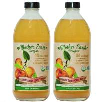 Mother Earth, Organic Apple Cider Vinegar with The Mother, Fermented with Fresh Pressed Organic Apples, OACV, ACV, Raw, Unpasteurized, Unfiltered (2/16oz Glass Bottles)