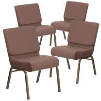 Flash Furniture 4 Pk. HERCULES Series 21''W Stacking Church Chair in Brown Dot Fabric - Gold Vein Frame