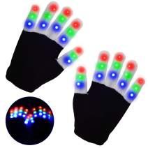 Yostyle Children LED Finger Light Up Gloves,Small 3 Colors 6 Modes Flashing LED Warm Gloves Colorful Glow Flashing Novelty Toys for Kids Boys Girls