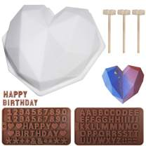 Heart Silicone Molds, Diamond Chocolate Heart Shape Cake Mold, Non-Sticky Silicone Letter Mold and Number Chocolate Molds with Wooden Hammers for Home Kitchen Birthday DIY Baking Tools, 6PCS