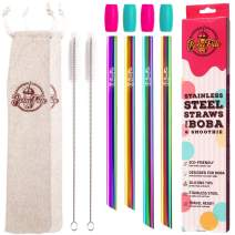 """BOBA FIDE 9.4"""" & 8.5"""" Rainbow Stainless Steel Boba & Smoothie Straws + Safety Silicone Tips & Brushes in 2 Travel Cases, Angled Tip Extra Wide Bubble Tea Milkshake Straws, 4 Reusable Metal Straws"""