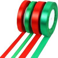 100 Yards Satin Ribbon Christmas Gift Wrapping Ribbon for DIY Gifts (10 mm and 15 mm, Red and Green)