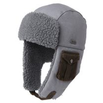 24 Inch Cotton Winter Bomber Trapper Faux Fur Earflaps Hunting Russian Hat for Large Head Men Women Cold Weather Grey 59-61cm
