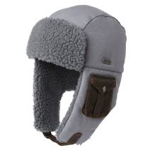 Cotton Winter Trapper Faux Fur Bomber Russian Cold Weather Fleece Earflaps Hunting Hat for Men Women Grey 55-59cm