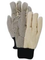 Magid Safety MultiMaster T30P Gloves | 8 oz. PVC Dotted Cotton/Polyester Blend Gloves - Knit Wrist Cuff, Ladies (Fits Medium), Tan/Black (12 Pairs)