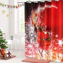 AooHome Christmas Sled Shower Curtain, Fabric Glitter Santa Claus Bathroom Curtain with Hooks, Heavy Weight, Weighted Hem, Red, 72x78 Inch