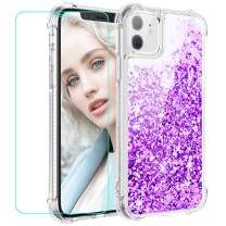 Maxdara Case for iPhone 11 Case Glitter for Girls Women (Screen Protector) Liquid Bling Shiny Sparkle Luxury Fashion Soft TPU Bumper Protective Case for iPhone 11 6.1 inches (Purple)