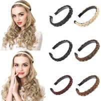 """SARLA Braided Headband 0.78"""" Wide Hair Braid Plaited Twisted Hair Band Elastic Stretch Wide Thick Elegant Sexy Cute Bohemia Classic Comfortable Synthetic Hairpiece (H08, Jet black)"""